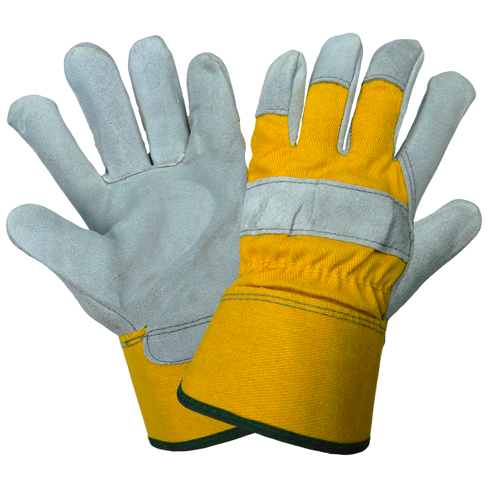 8 oz. Yellow Canvas Leather Palm Glove