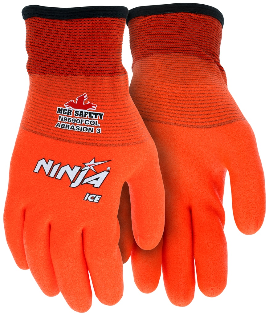 15 Gauge Ninja Ice Orange Nylon Fully Coated Glove