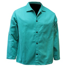9 Oz Green FR Welding Jacket, Velcro Closure