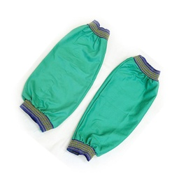 "[SL-593-GR-AA] 18"" Green FR Cotton and Blue-Gold Elastic Welding Sleeve"
